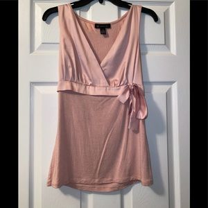 Satin plunge blouse with bow